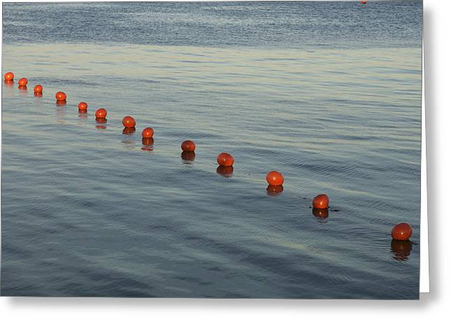 Curve Ball Greeting Cards - Denmark Red Safety Balls Floating Greeting Card by Keenpress