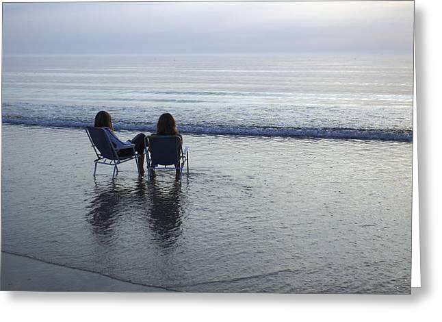 Denmark, Romo, Two Young Women Relaxing Greeting Card by Keenpress
