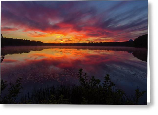 Dennis Pond Sunset Greeting Card by Mark Beliveau