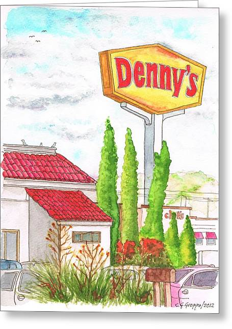 Edificios Greeting Cards - Dennys Coffee Shop in Barstow - California Greeting Card by Carlos G Groppa