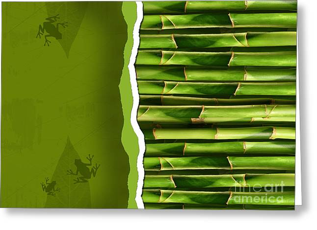 Zen-like Greeting Cards - Dense bamboo stalk with copyspace Greeting Card by Sandra Cunningham