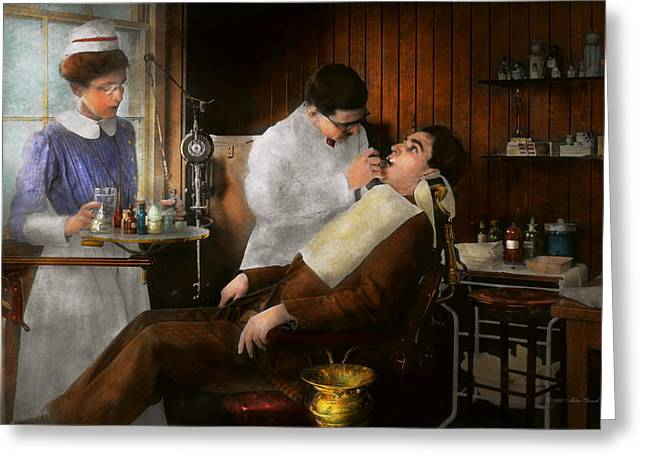 Procedures Greeting Cards - Dentist - An incisive decision - 1917 Greeting Card by Mike Savad