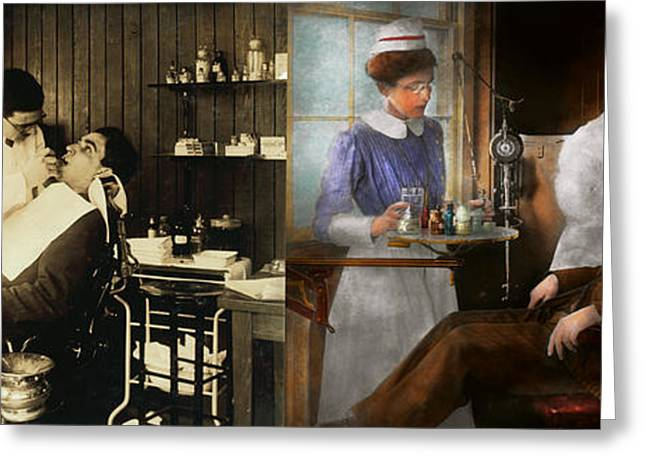 Incisors Greeting Cards - Dentist - An incisive decision - 1917 - Side by side Greeting Card by Mike Savad