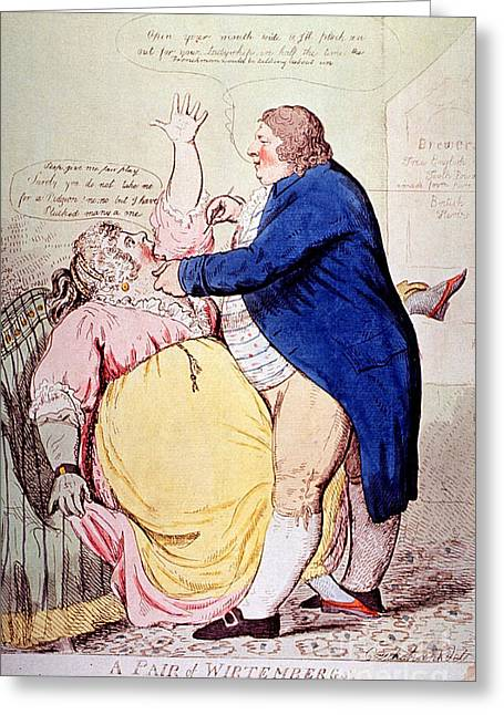 1797 Greeting Cards - Dentist And Patient Caricature, 1797 Greeting Card by Science Source