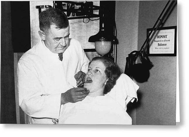 Dentist Has Cure For Pyorrhea Greeting Card by Underwood Archives