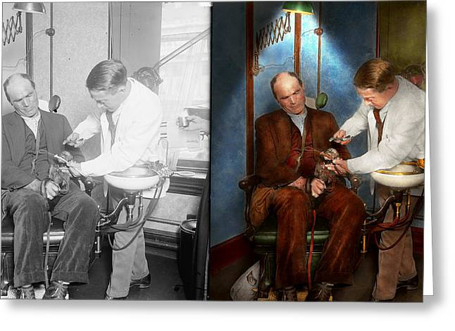Dentist - Monkey Business 1924 - Side By Side Greeting Card by Mike Savad
