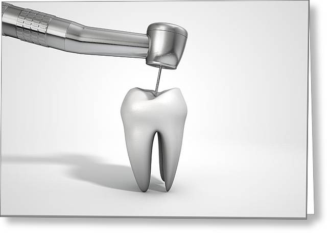 Healthcare-and-medicine Greeting Cards - Dentists Drill And Tooth Greeting Card by Allan Swart