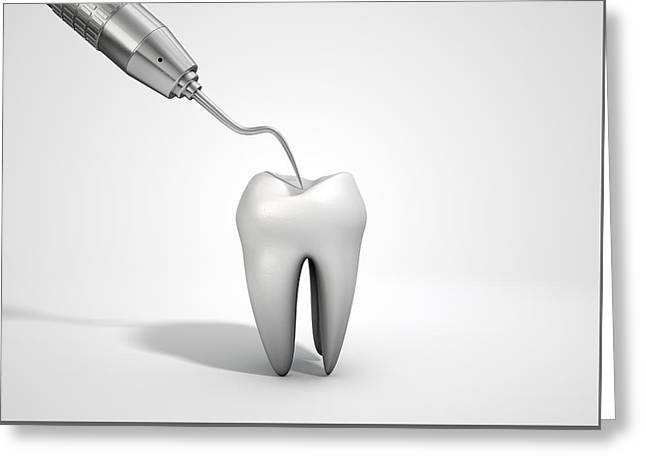 Incisors Greeting Cards - Dentists Probe Hook And Tooth Greeting Card by Allan Swart