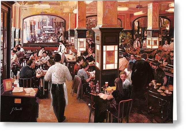dentro il caffe Greeting Card by Guido Borelli