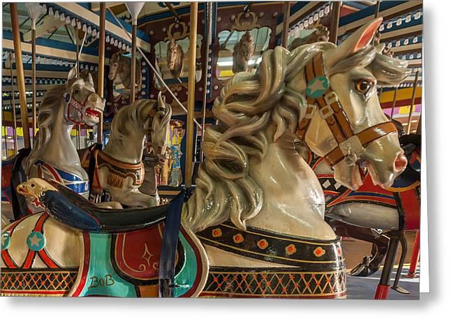 Looff Greeting Cards - Dentzel Looff Carousel Horse Bob Seaside Nj Greeting Card by Terry DeLuco
