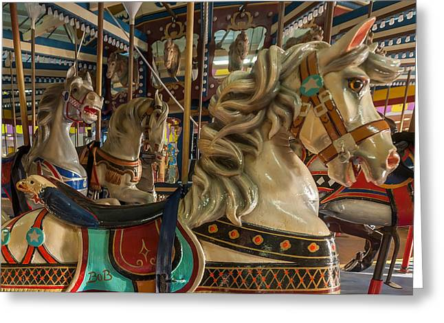 Family Time Greeting Cards - Dentzel Looff Carousel Horse Bob Seaside Nj Greeting Card by Terry DeLuco