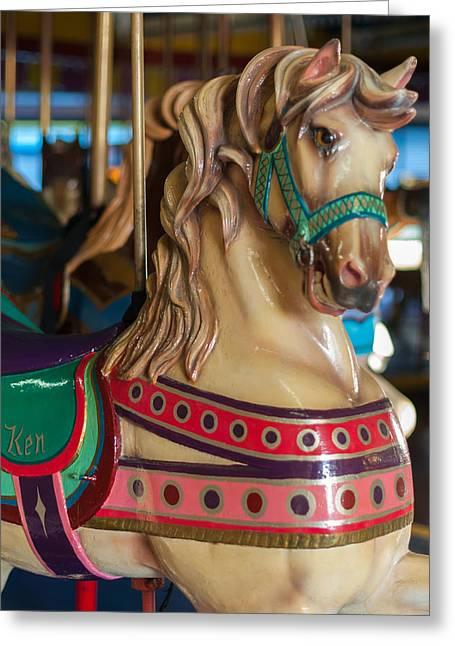 Looff Greeting Cards - Dentzel Looff Carousel Horse Ken Seaside NJ Greeting Card by Terry DeLuco