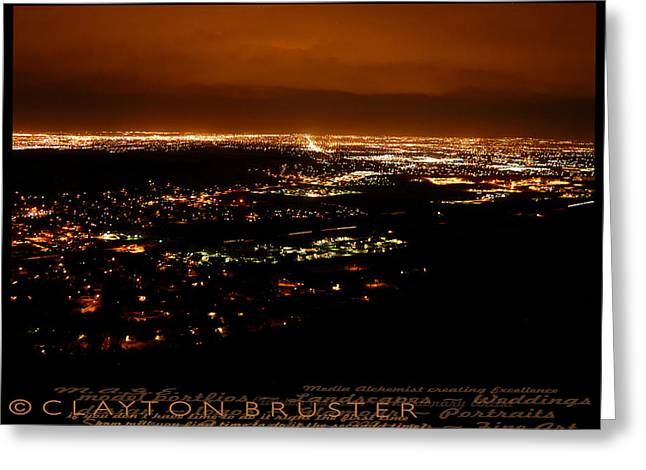 Denver Area At Night From Lookout Mountain Greeting Card by Clayton Bruster