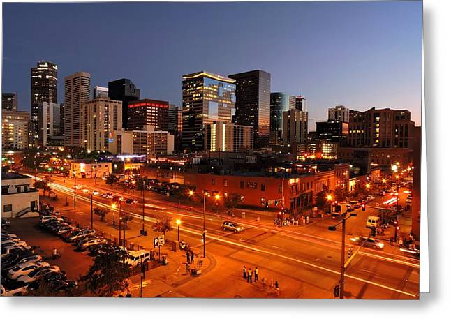 Long Street Greeting Cards - Denver at Night Greeting Card by Connor Beekman