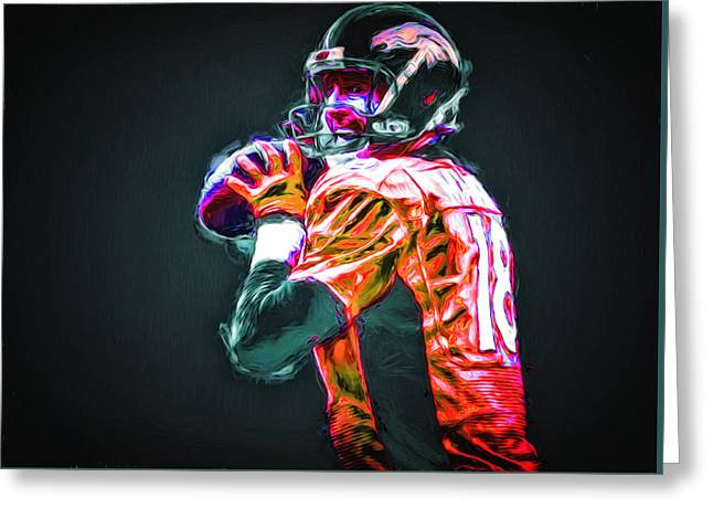 Nba Champs Greeting Cards - Denver Broncos Peyton Mannin Painted Digitally MIX 2 Greeting Card by David Haskett