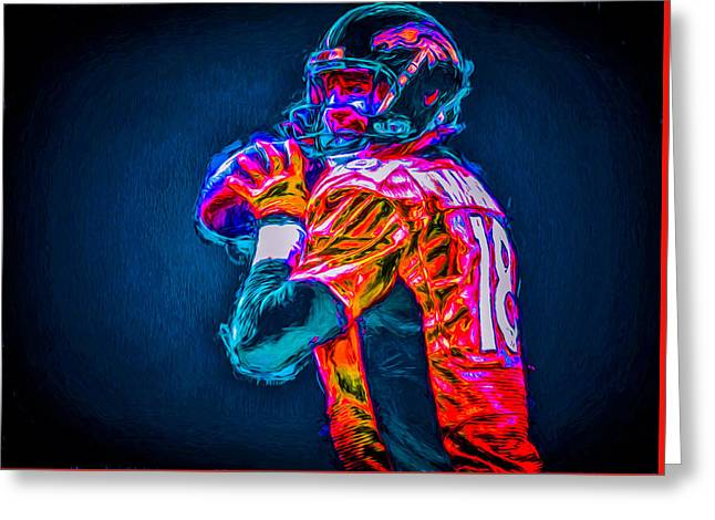 Nba Champs Greeting Cards - Denver Broncos Peyton Manning Digitally Painted MIX 3 Greeting Card by David Haskett