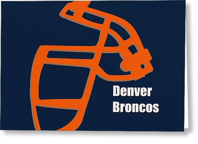 Denver Broncos Greeting Cards - Denver Broncos Retro Greeting Card by Joe Hamilton