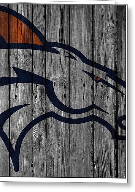 Offense Greeting Cards - Denver Broncos Wood Fence Greeting Card by Joe Hamilton