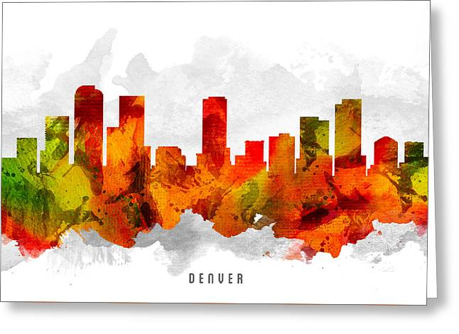 Denver Colorado Greeting Cards - Denver Colorado Cityscape 15 Greeting Card by Aged Pixel