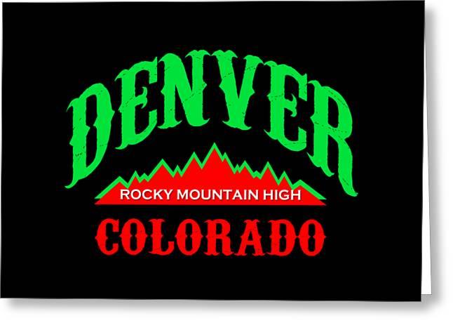 Denver Colorado Tshirt Design Greeting Card by Art America Online Gallery