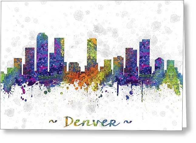 High Rise Greeting Cards - Denver Colorado Skyline Color 03SQ Greeting Card by Aged Pixel