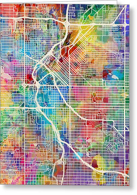 Street Maps Greeting Cards - Denver Colorado Street Map Greeting Card by Michael Tompsett