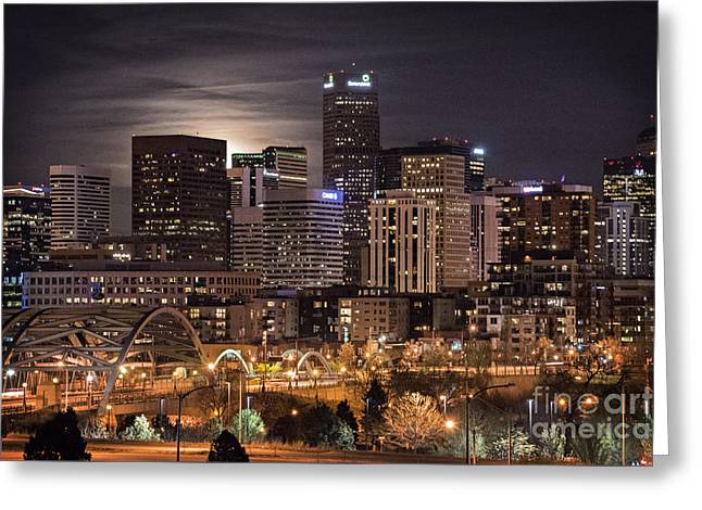 Night Photography Greeting Cards - Denver Skyline at Night Greeting Card by Juli Scalzi