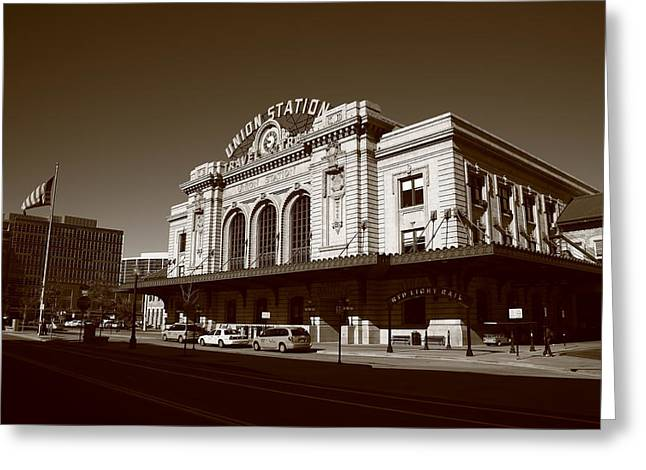 Denver - Union Station Sepia 2 Greeting Card by Frank Romeo