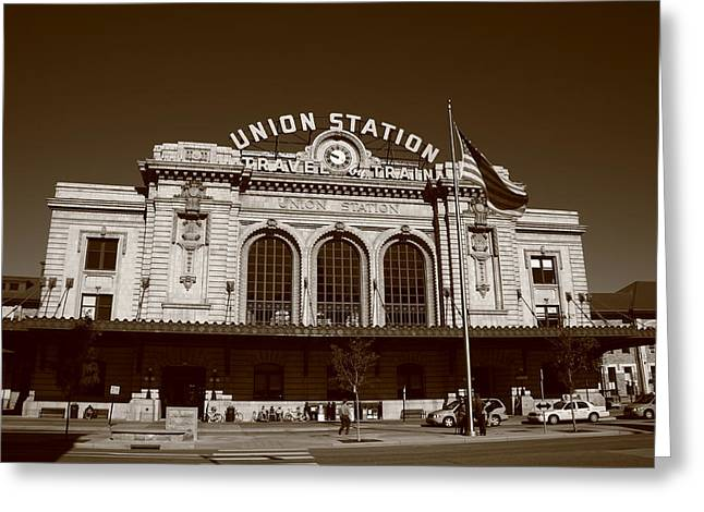 Denver - Union Station Sepia Greeting Card by Frank Romeo