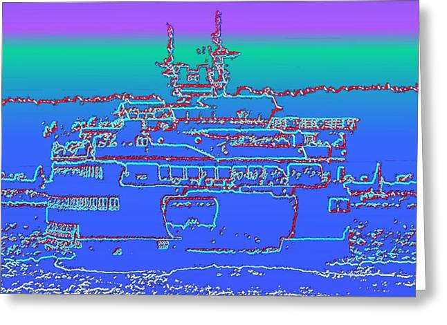 Departing Ferry Greeting Card by Tim Allen