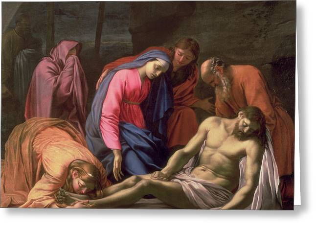 Calvary Paintings Greeting Cards - Deposition Greeting Card by Eustache Le Sueur