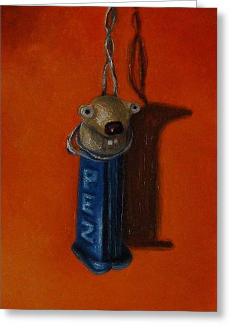 Pez Greeting Cards - Depressed Pez Greeting Card by Leah Saulnier The Painting Maniac
