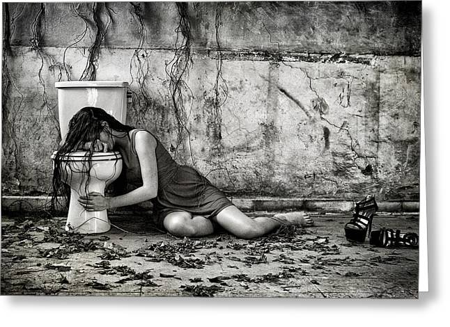 Model Photographs Greeting Cards - Depression Greeting Card by Joey Bangun