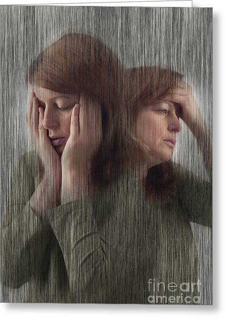 Hurting Head Greeting Cards - Depression, Stress, Headache Greeting Card by George Mattei