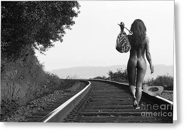 Fine Art Nude Greeting Cards - Derailed Greeting Card by Naman Imagery