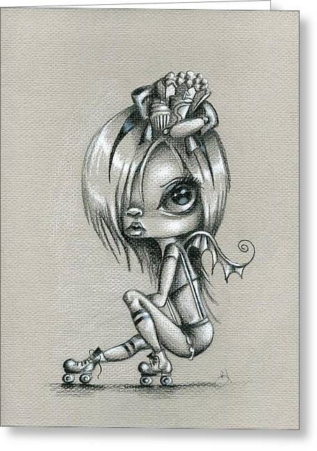 Roller Skates Greeting Cards - Derby Girl Greeting Card by Sour Taffy