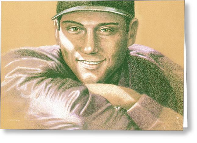 Derek Jeter Greeting Card by Kurt Holdorf