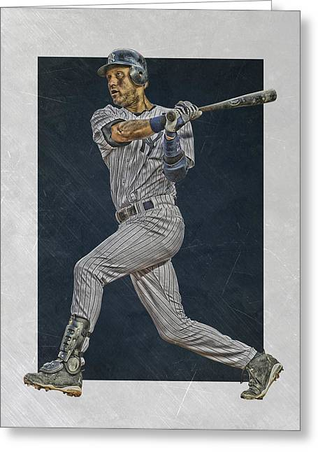 Derek Jeter New York Yankees Art 2 Greeting Card by Joe Hamilton