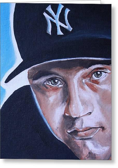 Baseball Print Paintings Greeting Cards - Derek Jeter Portrait Greeting Card by Mikayla Henderson
