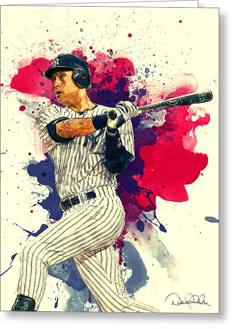 Roberto Clemente Paintings Greeting Cards - Derek Jeter Greeting Card by Taylan Soyturk