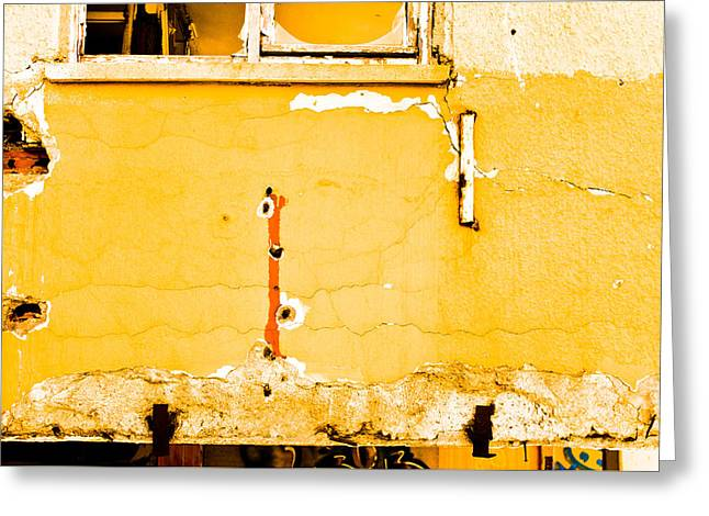 Defects Greeting Cards - Derelict building wall Greeting Card by Tom Gowanlock