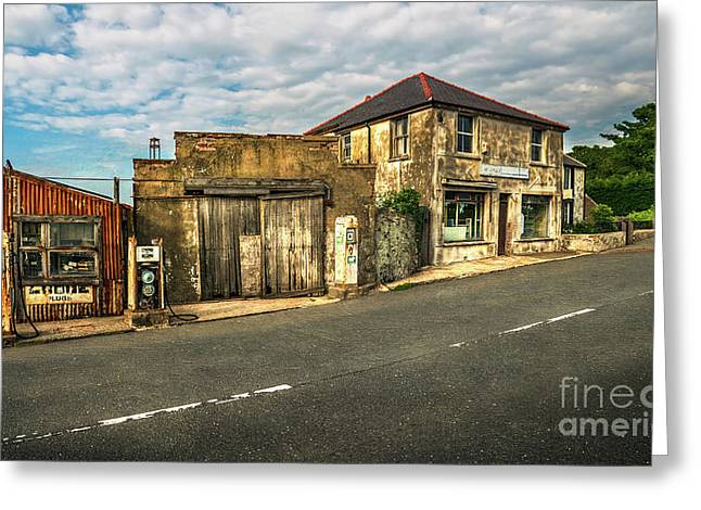 Derelict Old Garage Greeting Card by Adrian Evans