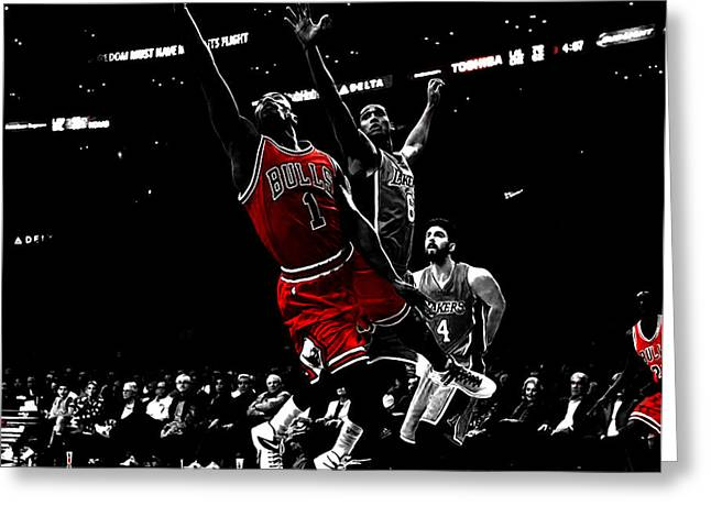 Derrick Rose Finger Roll Greeting Card by Brian Reaves