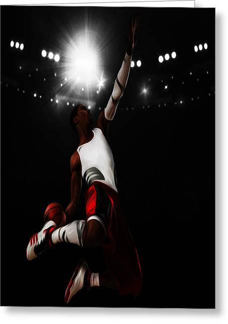 Slam Dunk Mixed Media Greeting Cards - Derrick Rose I Rise Greeting Card by Brian Reaves