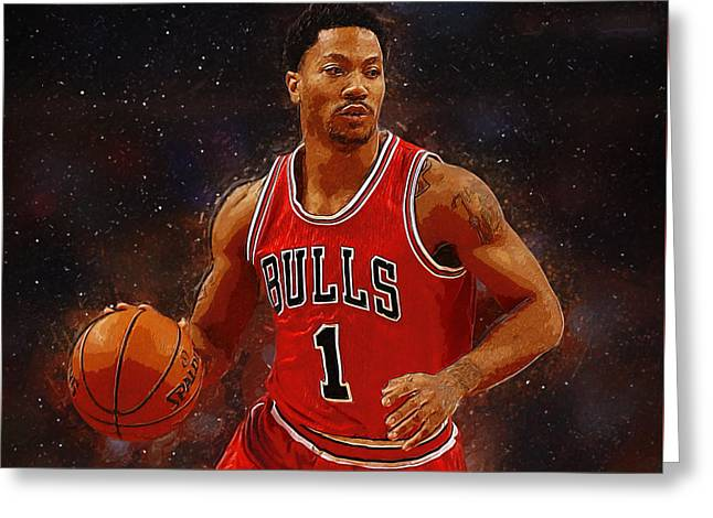 Artest Houston Rockets Greeting Cards - Derrick Rose Greeting Card by Semih Yurdabak