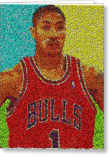 Chicago Bulls Mixed Media Greeting Cards - Derrick Rose Skittles Mosaic Greeting Card by Paul Van Scott