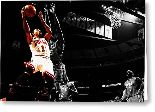 Slam Dunk Mixed Media Greeting Cards - Derrick Rose the Raging Bull Greeting Card by Brian Reaves