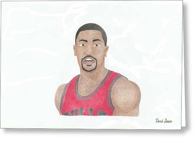 Chicago Bulls Art Drawings Greeting Cards - Derrick Rose Greeting Card by Toni Jaso