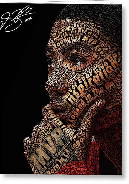 Basketballs Greeting Cards - Derrick Rose Typeface Portrait Greeting Card by Dominique Capers
