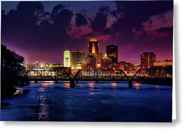 Des Moines At Dusk Greeting Card by Tony Walker